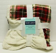 "WAYLAND SQUARE PLUSH & SHERPA BLANKET DOUBLE SIDED 50""X60"" - RED CHECKER"