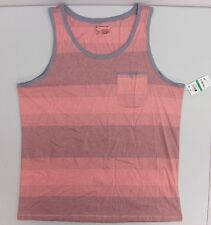 INC MENS SLEEVELESS MUSCLE TEE T SHIRT STRIPED TANK ORANGE GREY L AF187