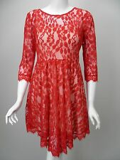 FREE PEOPLE Red Lace Tulle Ivory Underlay 3/4 Sleeve Dress sz 4