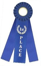 First Place Triple Streamer Rosette Award Ribbon 3x10   1st Place Rosette Ribbon