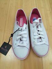 NWT Women's Shoes LAUREN Ralph Lauren PAULINE Lace-up Sneakers Canvas WHT Sz 6.5