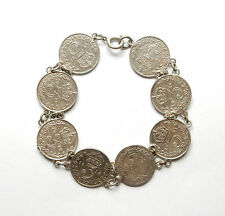 Rare Antique George V Silver 3P THREE PENCE COIN LINK BRACELET 13.2g 7""