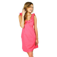 NWT Dayton K. Cathryn Low Back Preppy Southern Dress in Hot Pink Large