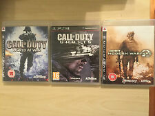 3x Playstation 3 PS3 juegos Call of Duty World at War Modern Warfare 2 fantasmas MW2