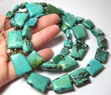 SUPERB VINTAGE JEWELLERY NATURAL TURQUOISE STONE GEOMETRICAL LONG NECKLACE 122g