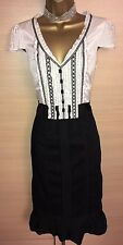 Exquisite Karen Millen Cream Black Silk Cotton Ruffle Plunge Dress UK12