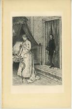 ANTIQUE GORGEOUS WOMAN CANDLELIGHT PORTIERE TOILETTE BEDROOM CHINE COLLE PRINT