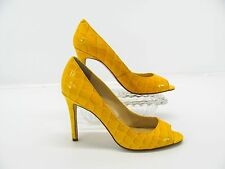 ENZO ANGIOLINI Womens Yellow Patent Leather Open Toe Heels Pumps Shoe 7M #N6