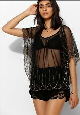 Urban Outfitters Womens Ecote Beaded Black Top Blouse M/L Sold Out