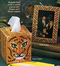 JUNGLE DESK SET TIGER TISSUE COVER PLASTIC CANVAS PATTERN INSTRUCTIONS ONLY