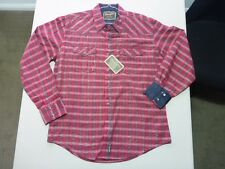 085 MENS NWT WRANGLER 'RETRO WESTERN' RED / OLIVE CHECK L/S SHIRT LRG (US) $140.
