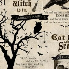 SOMETHING WICKED WITCHES BATS OWLS NEWSPRINT HALLOWEEN FABRIC