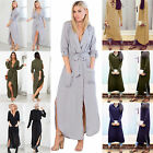 Women Chiffon Long Sleeve Top Loose Blouse T Shirt Long Dress Plus Size UK 8-20