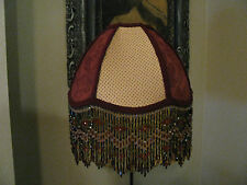 "Victorian French  Medium  Lamp Shade  ""Red, Gold""   Beads 6"" Fringe UNO  Look!"