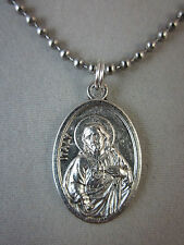 "Silver Plated Sacred Heart  / Holy Spirit Medal Italy Necklace 24"" Ball Chain"