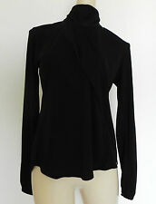New Veronique Branquinho Black Top  Size S Long Sleeve Turtle Neck Asymmetrical