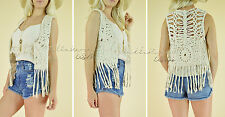 $48 BEIGE CHIC Hippie Woven Boho Gypsy Crochet Knit Fringe Vest Cotton Top OS