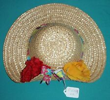 """12"""" Natural Straw Hat with Red Rose & Yellow Carnation for Child FSGHGM02"""