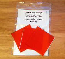 3 x Universal Red filter (50mm square) for Underwater Diving Camera Case Housing