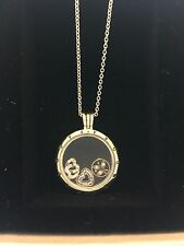 Authentic Pandora Floating Locket Necklace Large 590530-75 + Charms 792022CZ