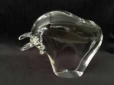 "Vintage Murano Italy Crystal Art Glass Bull Statue Figurine Paperweigh, 6 1/2"" L"