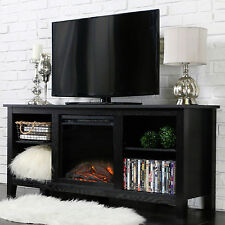 New 58 Inch TV Stand with Fireplace Insert in Black Finish
