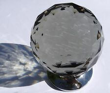 X Large clear round cut glass door knob CHROME BASE (single)