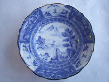 Blue & White Chinese or Japanese Oriental Bowl with Sea & Mountain Scene signed