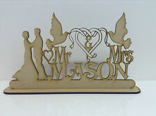 MDF, Personalised Wedding Sign Mr & Mrs surname with Doves and couple