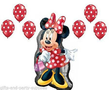 Disney Minnie Mouse Full Body Balloon Red Polka Dots Birthday Party supply ~7pc