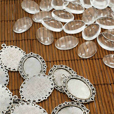10 Sets Antique Silver DIY Cabochon Settings Pendant Making Oval Glass Cabochons