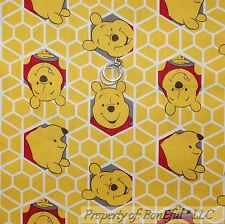 BonEful Fabric FQ Cotton Quilt Winnie the Pooh Baby Honey Bee Hive Yellow Bear S