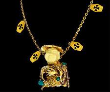 "Vintage Har Chinaman Bust Brooch Pendant & Dangle Charm 30"" Chain"
