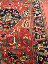 "Antique Persian Heriz Serapi Rug 9'7"" x 13'7"" c.1890 Museum Quality"