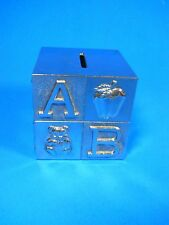 """Silverplated Baby ABC Cube Block Childrens Coin Piggy Bank 3"""" x 3"""" Alphabet"""