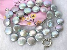 Beautiful 10-13MM Gray Coin Akoya Pearl Necklace 17""