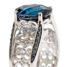 Victoria Wieck London Blue Topaz and Gemstone Sterling Silver Bridge Ring $350