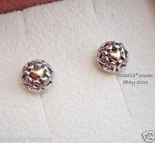 MY ONE TRUE LOVE Authentic PANDORA Sterling Silver/14K GOLD Heart EARRINGS Studs