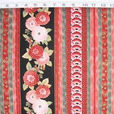 """C1149-02M- RED ROOSTER FABRICS """"Sakura"""" Stripe, 100% Cotton Metallic 25"""" X 44"""""""