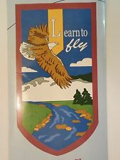 """Learn to fly"" Bald Head Eagle flies over River & Mountains applique HOUSE flag"