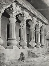 1928 Original INDIA Ajanta Nashik Cave Child Architecture Photo Art By HURLIMANN