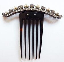 Superbe Peigne diadème 19e siècle ARGENT + perles comb tiara peineta bijou