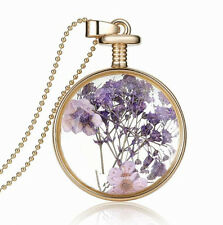 Elegant Gold Purple Lavender Flower Round Perfume Bottle Pendant Necklace N385
