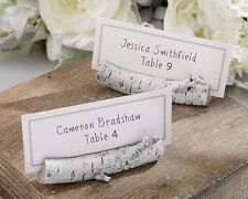 96 Resin Birch Log Wedding Place Card Photo Holders Favors