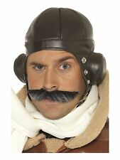 Brown 40s World War 2 Flying Biggles Helmet Pilot Aviator Fancy Dress Hat 33437