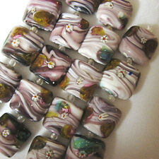 Square Foil Lampwork Glass Beads, Purple White, Green 5 beads 18mm