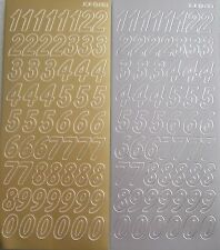 Peel-offs  - Numbers I sheet of gold and 1 sheet of silver  2 pk
