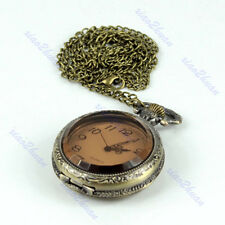 Antique Carving Bronze Big Size Quartz Pocket Watch Necklace Chain Pendant