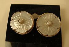 "Sterling Post Earrings by ""MD"" Carved Flower Mother of Pearl w Faux Pearl"