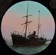 Glass Magic Lantern Slide MARINE VIEW C1890  BOATS STEAM BOAT PHOTO
